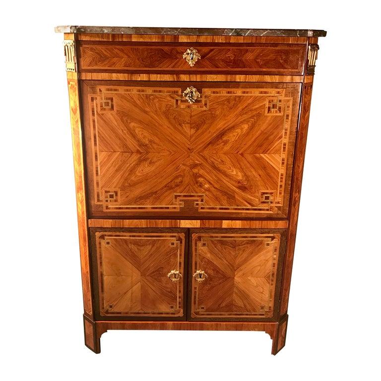 18th Century Fall top Desk (Secretaire a Abattant) Paris 1780, with Signature For Sale