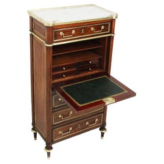 18th Century Secretaire Louis XVI Period in Mahogany and White Marble Top
