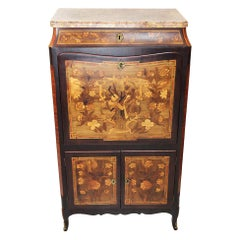 18th Century Secretaire with Flower and Musical Theme Marquetry and Marble Top