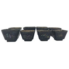 17th Century Set of 8 Chinese Lacquer Silver Cups with Mother of Pearls