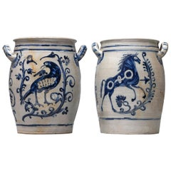 18th Century Set of Ritzdekor Westerwald Horse and Bird Pottery or Stoneware