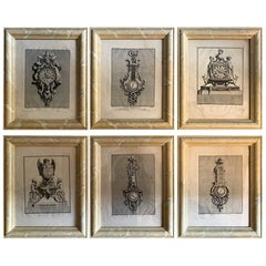18th Century Set of Six Engraving Design for a Clock by J.F Forty