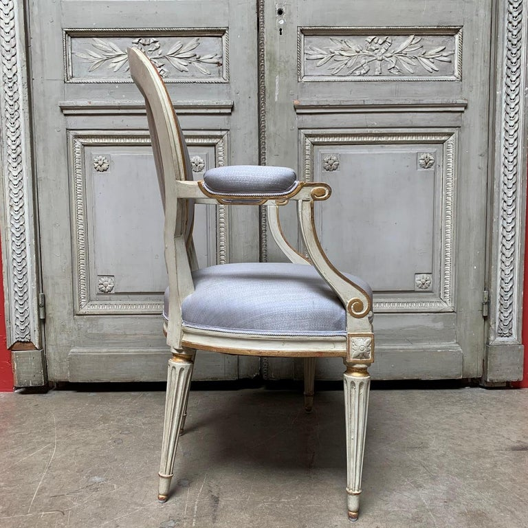 Wood 18th Century Set of Six Louis XVI Armchairs with a Gray and Gold Leaf Finish For Sale