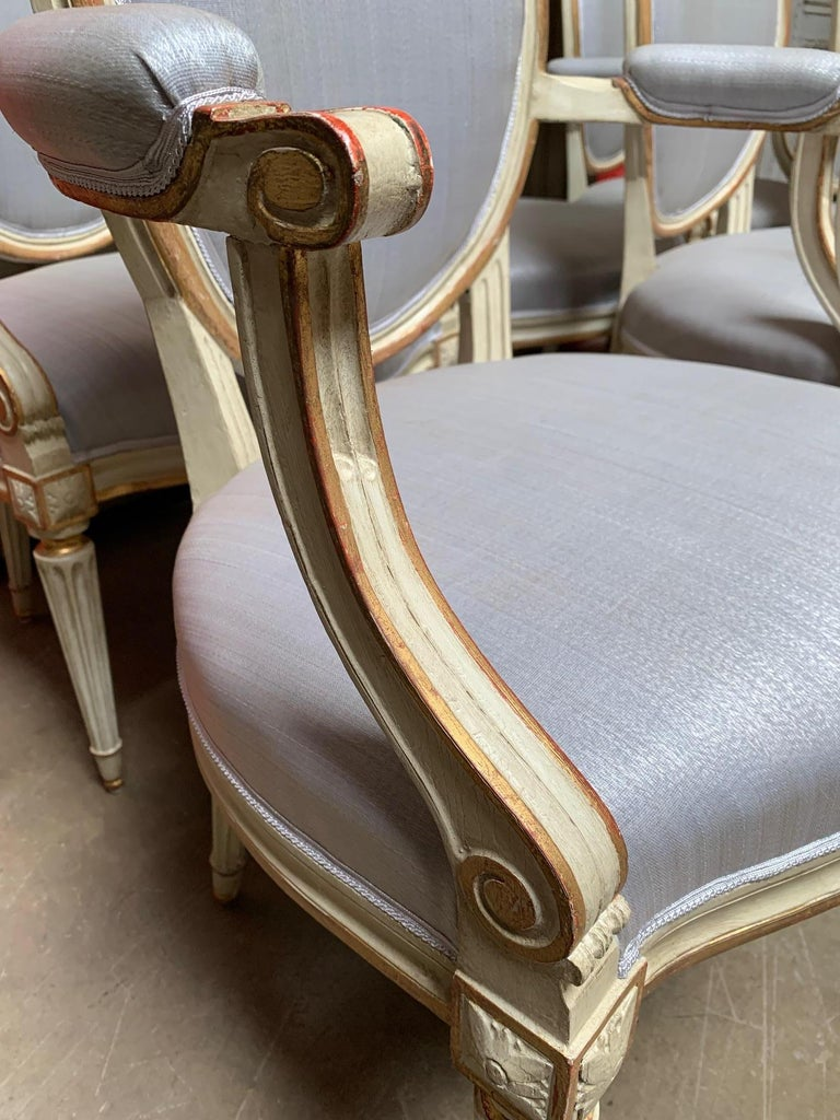 18th Century Set of Six Louis XVI Armchairs with a Gray and Gold Leaf Finish For Sale 3