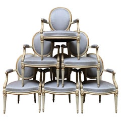 18th Century Set of Six Louis XVI Armchairs with a Gray and Gold Leaf Finish