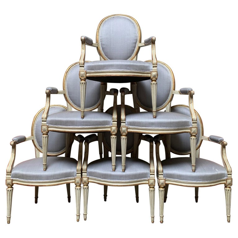 18th Century Set of Six Louis XVI Armchairs with a Gray and Gold Leaf Finish For Sale