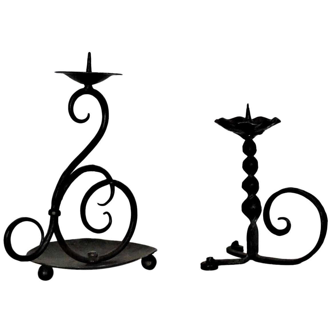 18th Century Set of Two Spanish Hand Forged Iron Church Candleholders