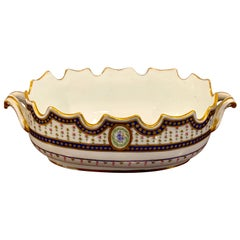 18th Century Sevres Porcelain Floral Painted Monteith Bowl, 1793