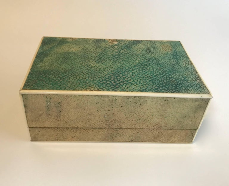 18th Century Shagreen Box with Bone and Bird's-Eye Maple Trim For Sale 4