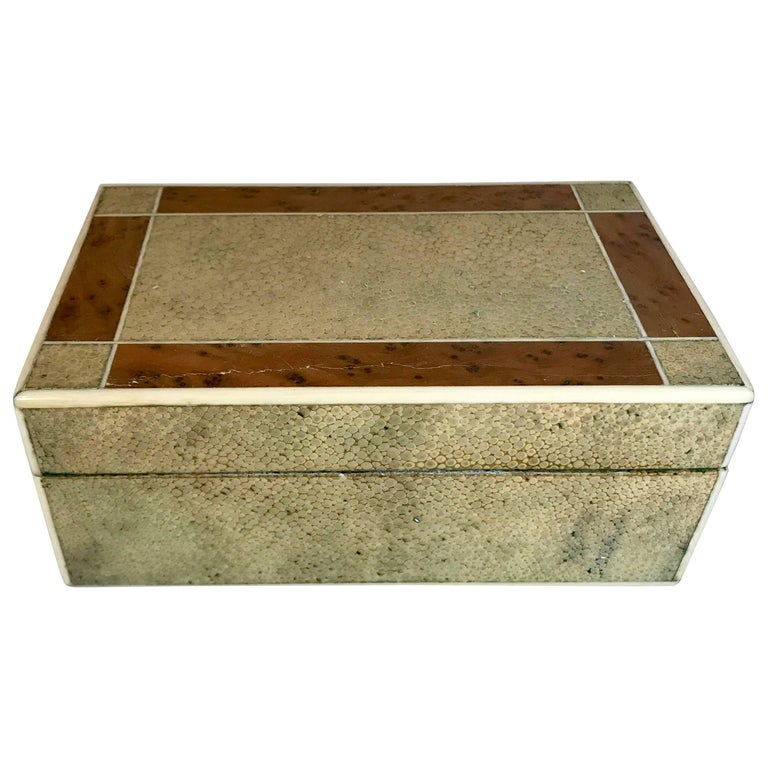 18th Century Shagreen Box with Bone and Bird's-Eye Maple Trim For Sale