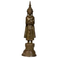 18th Century, Shan, Rare Burmese Bronze Standing Buddha