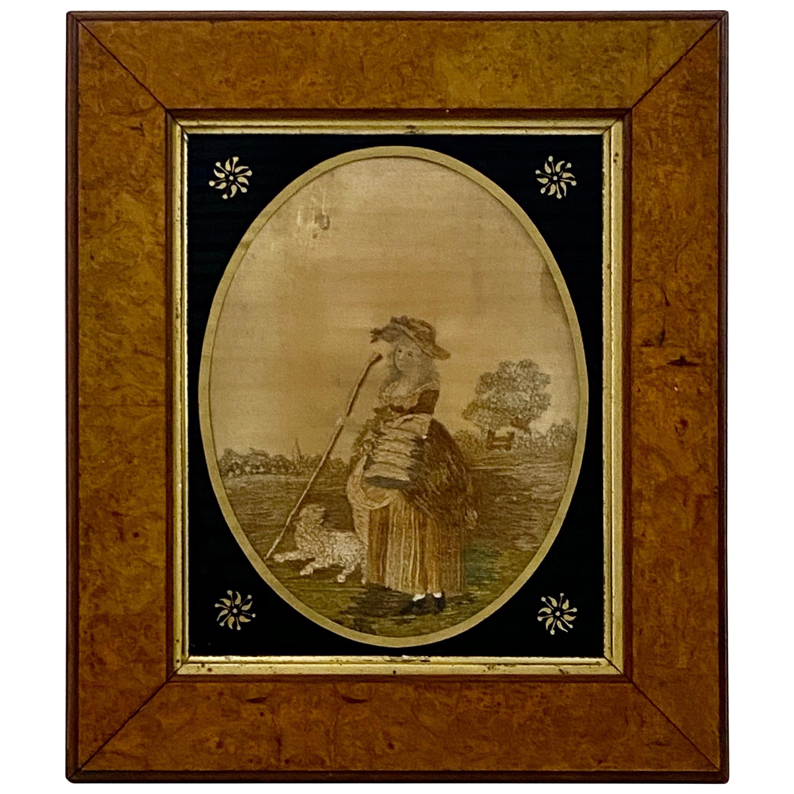 "18th Century ""Shepherdess"" Silk Embroidery Framed in Burl Walnut"