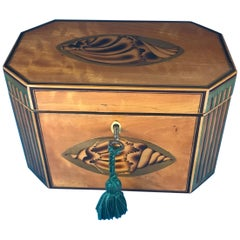 18th Century Sheraton 1790 Octagonal Shell Inlaid Twin Lidded Tea Caddy