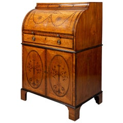 18th Century Sheraton Period Satinwood Inlaid Cylinder Bureau