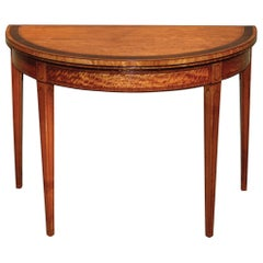 18th Century Sheraton Satinwood Half-Round Card Table