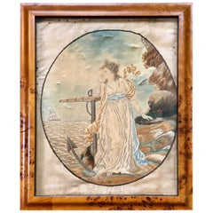 18th Century Silk Embroidered Nautical Scene