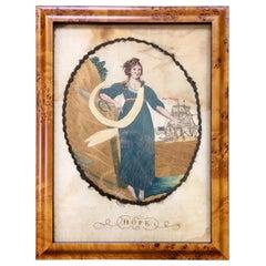 18th Century Silk Embroidered Nautical Scene, HOPE