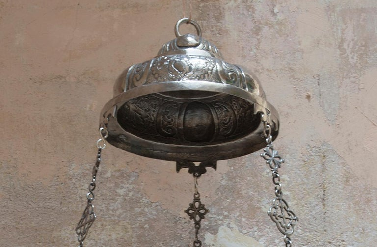 Spanish Colonial 18th Century Silver Chandelier For Sale