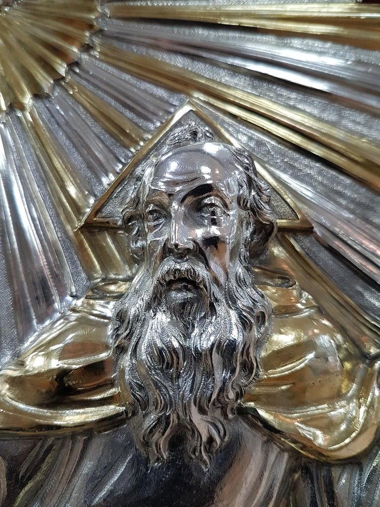 18th Century Silver Plaque Representing SS Trinità with Sant' Antony Da Padua For Sale 4
