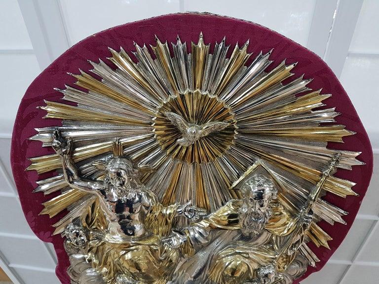 18th Century Silver Plaque Representing SS Trinità with Sant' Antony Da Padua For Sale 7