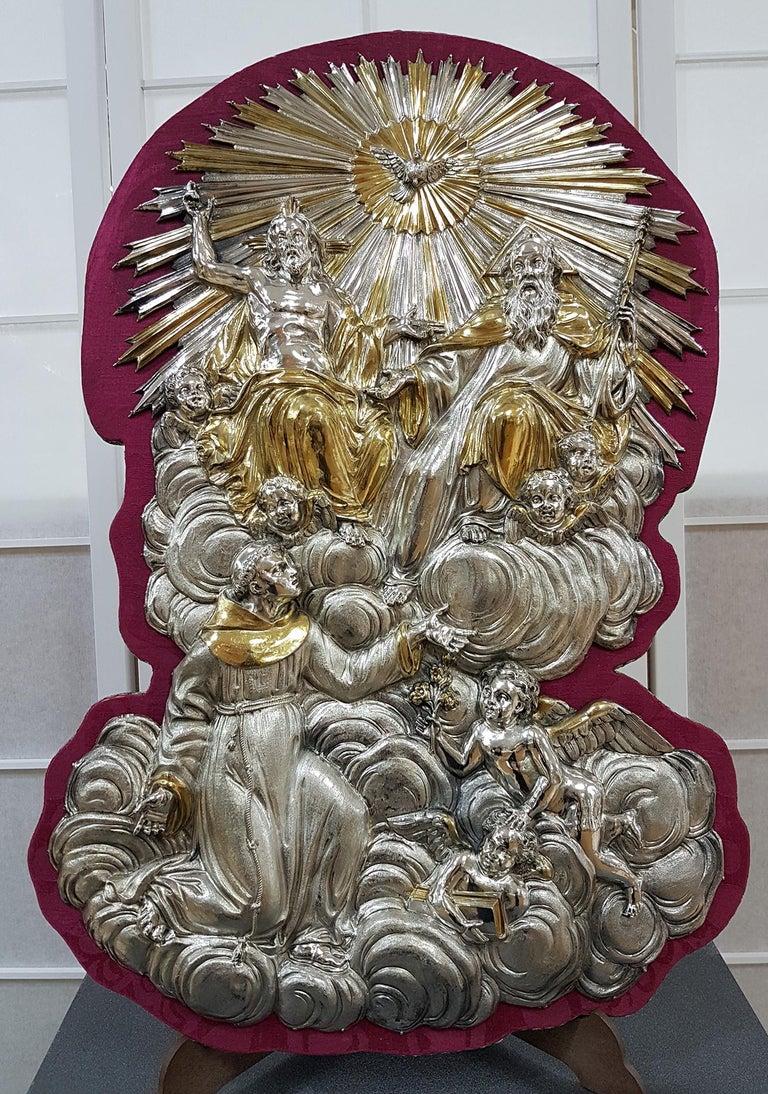 18th Century Silver Plaque Representing SS Trinità with Sant' Antony Da Padua For Sale 8
