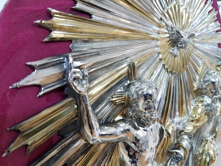Baroque 18th Century Silver Plaque Representing SS Trinità with Sant' Antony Da Padua For Sale