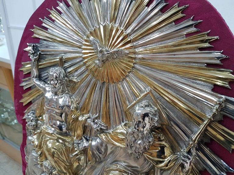 Italian 18th Century Silver Plaque Representing SS Trinità with Sant' Antony Da Padua For Sale