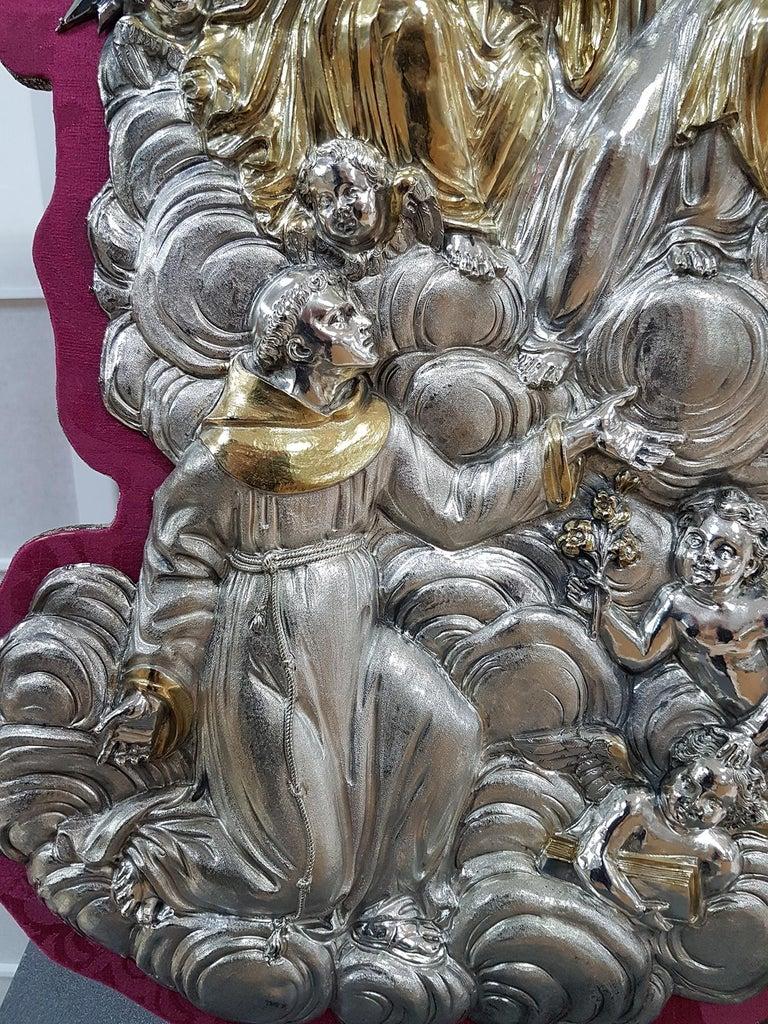 18th Century Silver Plaque Representing SS Trinità with Sant' Antony Da Padua In Excellent Condition For Sale In VALENZA, IT