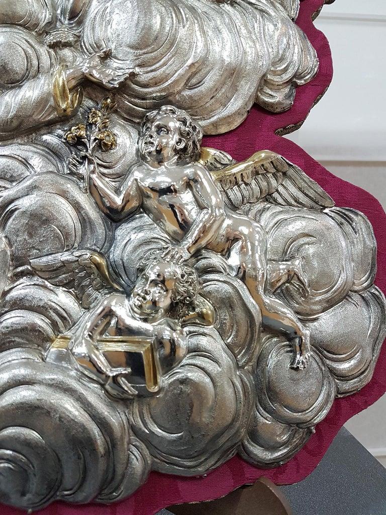 Mid-18th Century 18th Century Silver Plaque Representing SS Trinità with Sant' Antony Da Padua For Sale