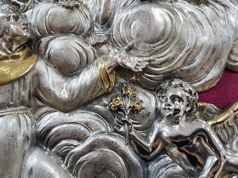 18th Century Silver Plaque Representing SS Trinità with Sant' Antony Da Padua For Sale 1