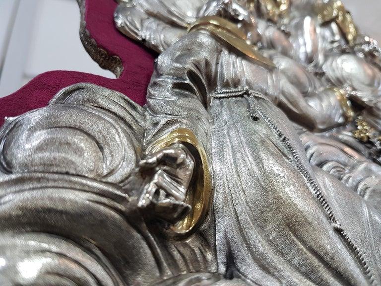 18th Century Silver Plaque Representing SS Trinità with Sant' Antony Da Padua For Sale 2