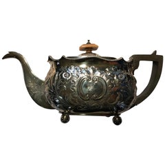 18th Century Silver Plated Teapot with Flaming Tower Arms Hand Made in Germany