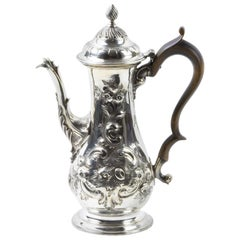 18th Century Silver Rococo Mocha Coffee Pot, circa 1760