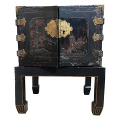 18th Century Small Black Jewelry Chest
