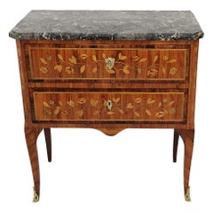 18th Century Small Commode Stamp SCHLICHTIG with Grey Marble Top and Marquetry
