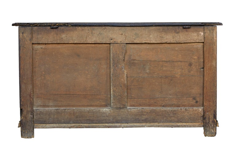 British 18th Century Small English Oak Coffer For Sale