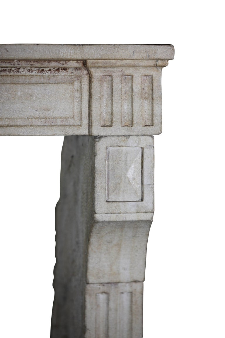 Carved 18th Century, Small French Classic Louis XVI Antique Limestone Fireplace For Sale