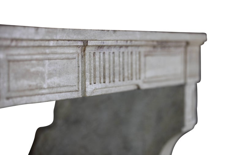 18th Century, Small French Classic Louis XVI Antique Limestone Fireplace For Sale 1