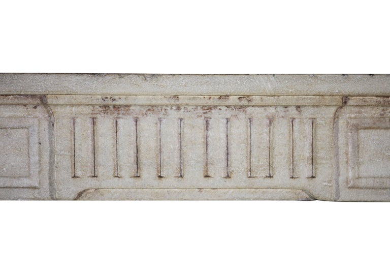 18th Century, Small French Classic Louis XVI Antique Limestone Fireplace For Sale 2