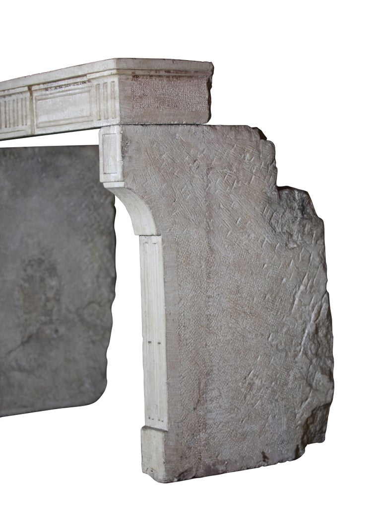 18th Century, Small French Classic Louis XVI Antique Limestone Fireplace For Sale 3