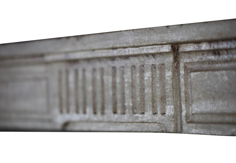 18th Century, Small French Classic Louis XVI Antique Limestone Fireplace For Sale 4