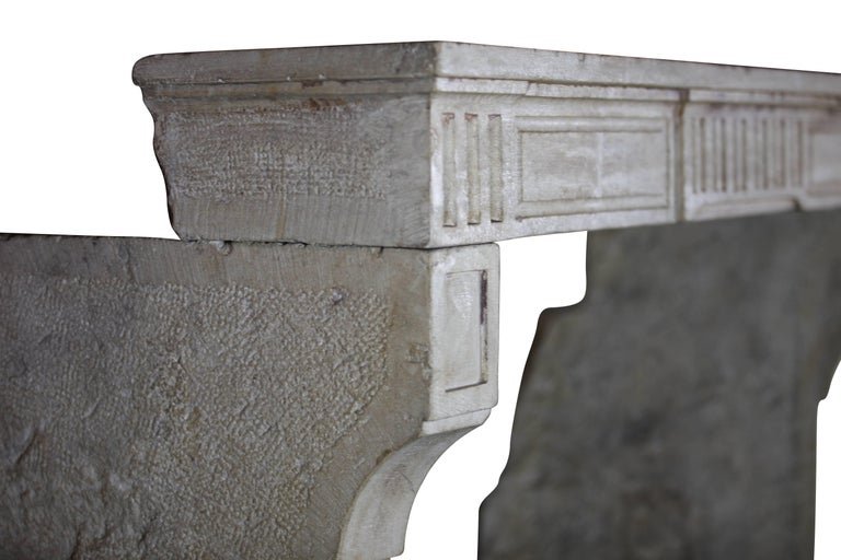18th Century, Small French Classic Louis XVI Antique Limestone Fireplace For Sale 5