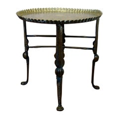 18th Century Small Moorish Brass Tray Top Folding Table