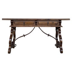 18th Century Solid Walnut Baroque Lyre-Leg Trestle Refectory Desk Writing Table