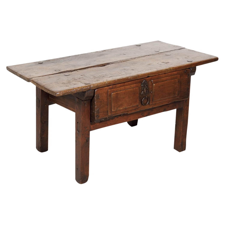 18th Century Solid Walnut Spanish Side Table