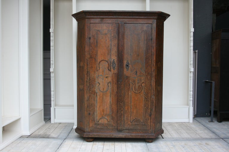 Baroque 18th Century South German Armoire in Original Paint For Sale