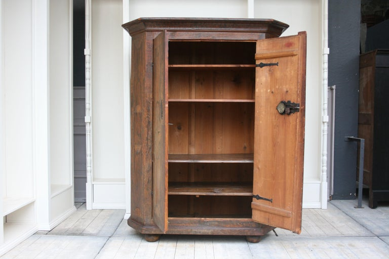 Hand-Painted 18th Century South German Armoire in Original Paint For Sale