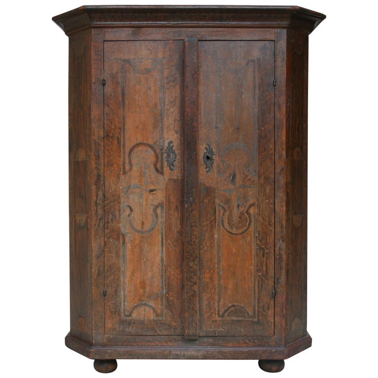 18th Century South German Armoire in Original Paint For Sale