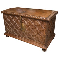 18th Century Spain Carved Walnut Blanket Chest