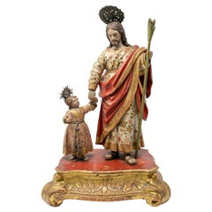 18th Century Spanish Andalusian Giltwood St Joseph with the Infant Sculpture